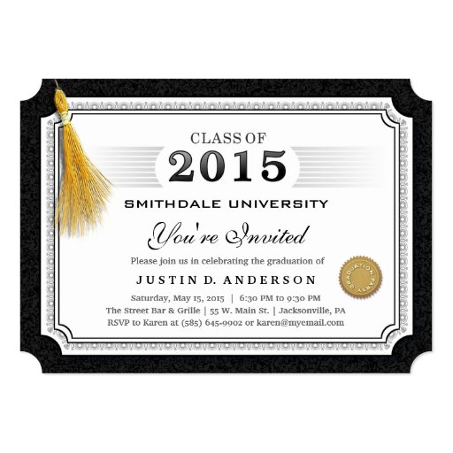 2015 Diploma Graduation Invite Gold Tassel Corners