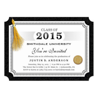 "2015 Diploma Graduation Invite Gold Tassel Corners 5"" X 7"" Invitation Card"