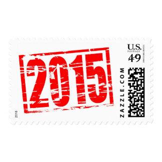 (2015 en los números romanos) efecto rojo del sellos
