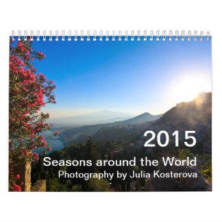 2015 estaciones en todo el mundo calendario de pared