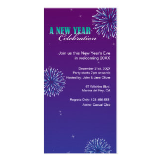 2015 Fireworks Blue Sky New Year's Party Photo Greeting Card