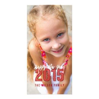 2015 Glitter   Happy New Year Holiday Photo Card