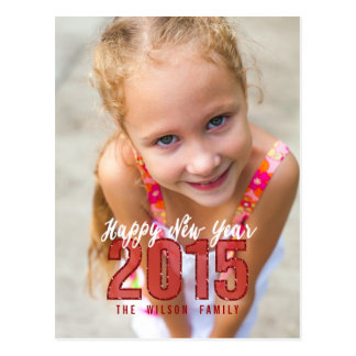 2015 Glitter | Happy New Year Holiday Postcard