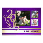 2015 Gold Purple Varsity Stripe Graduate Tri Photo 5x7 Paper Invitation Card