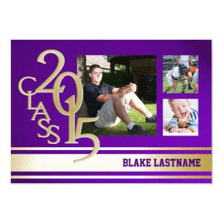 "2015 Gold Purple Varsity Stripe Graduate Tri Photo 5"" X 7"" Invitation Card"