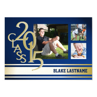 2015 Gold Varsity Stripe Graduate Tri Photo Blue 5x7 Paper Invitation Card