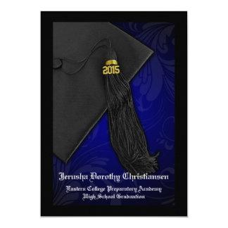 """2015 graduación negra y azul del encanto 5x7 de la invitación 5"""" x 7"""""""