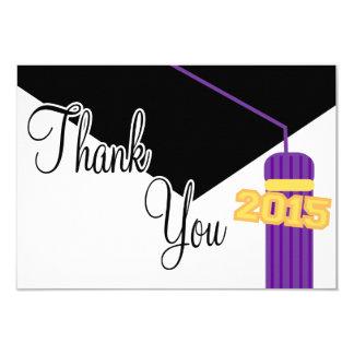 2015 Graduation Cap And Tassel Thank You (Purple) 3.5x5 Paper Invitation Card
