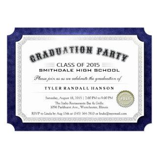 "2015 Graduation Diploma Navy Blue & White Invite 5"" X 7"" Invitation Card"