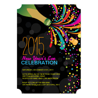 2015 Hip Customizable New Years Party Invitation