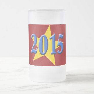 2015 in Blue Font with Gold Star Frosted Glass Beer Mug