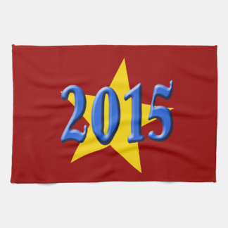 2015 in Blue Font with Gold Star Kitchen Towel