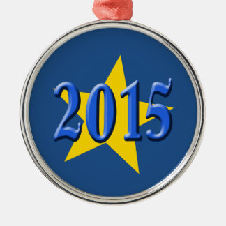 2015 in Blue Font with Gold Star Metal Ornament