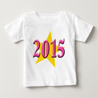 2015 in Pink with Big Yellow Star Baby T-Shirt