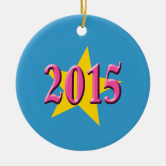 2015 in Pink with Big Yellow Star Ceramic Ornament