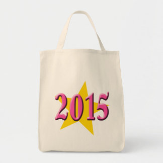 2015 in Pink with Big Yellow Star Grocery Tote Bag