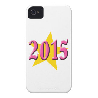 2015 in Pink with Big Yellow Star iPhone 4 Case-Mate Case