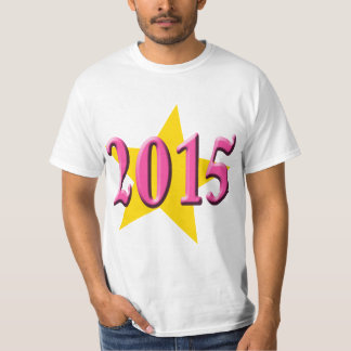 2015 in Pink with Big Yellow Star T-Shirt