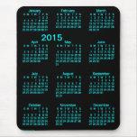 2015 Large Print Calendar Neon Blue Mousepad