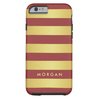 2015 Marsala Color and Gold Glitter Stripes Tough iPhone 6 Case