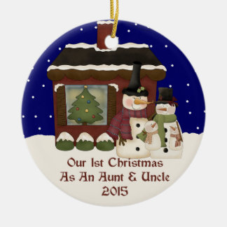 2015 My 1st Christmas As An Aunt & Uncle Ceramic Ornament