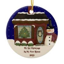 2015 My New Home Christmas Snowman Ceramic Ornament