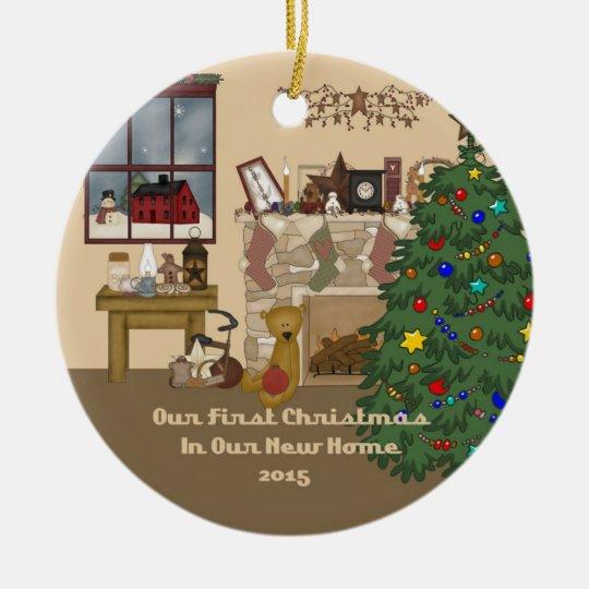 2015 New Home Christmas Fireplace Ceramic Ornament