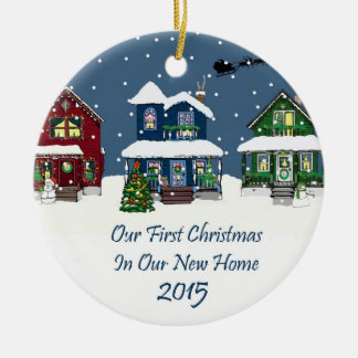 2015 New Home Christmas Snowy Houses Ceramic Ornament