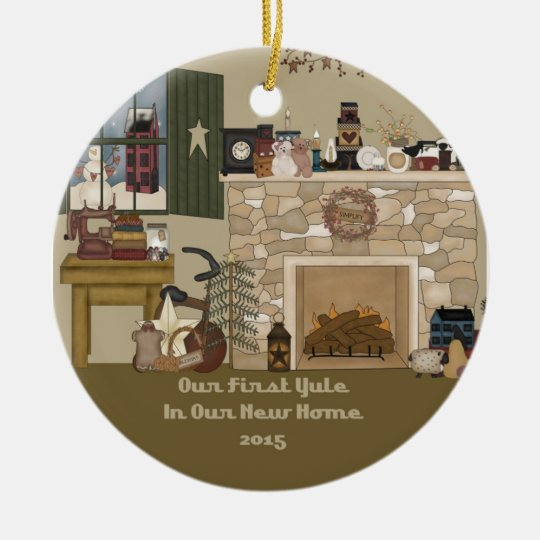 2015 New Home Yule Fireplace Ceramic Ornament