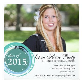 """2015 Open House Graduation Invitation Blue Circles 5.25"""" Square Invitation Card"""