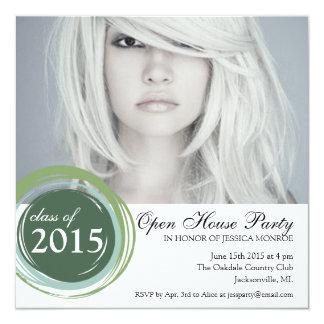 """2015 Open House Graduation Invitation Green Circle 5.25"""" Square Invitation Card"""