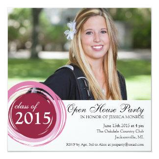 "2015 Open House Graduation Invitation Pink Circles 5.25"" Square Invitation Card"