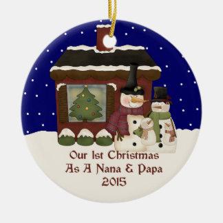 2015 Our 1st Christmas As A Nana and Papa Ceramic Ornament