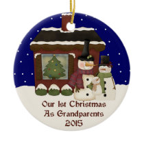 2015 Our 1st Christmas As Grandparents Ceramic Ornament