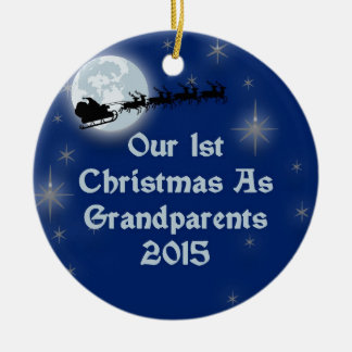 2015 Our 1st Christmas As Grandparents Double-Sided Ceramic Round Christmas Ornament