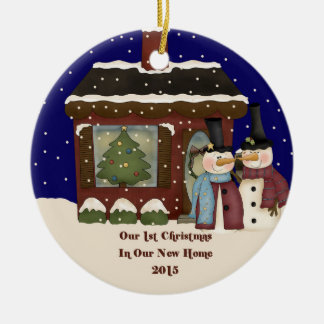 2015 Our New Home Christmas Snowman Double-Sided Ceramic Round Christmas Ornament