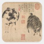 2015 pegatinas de la pintura china del año de la pegatina cuadradas personalizada