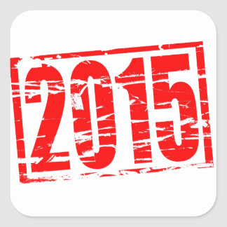 2015 red rubber stamp effect square sticker