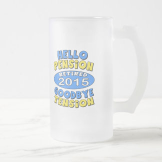 2015 Retirement Frosted Glass Beer Mug