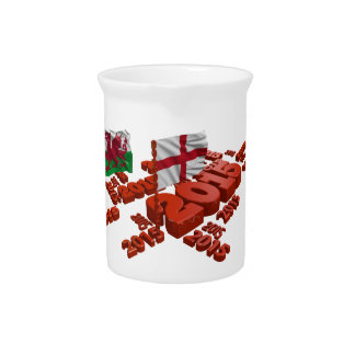 2015 Rugby design with England and Wales Flags Beverage Pitcher