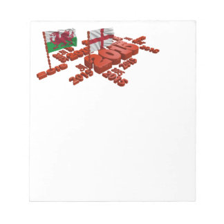 2015 Rugby design with England and Wales Flags Notepad