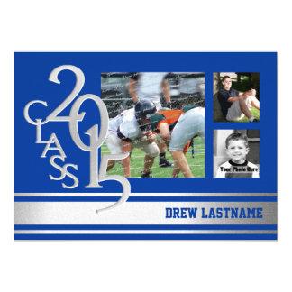 "2015 Silver Blue Varsity Stripe Graduate Tri Photo 5"" X 7"" Invitation Card"
