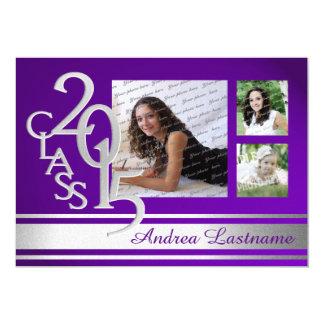 2015 Silver Purple Varsity Graduate Tri Photo 5x7 Paper Invitation Card