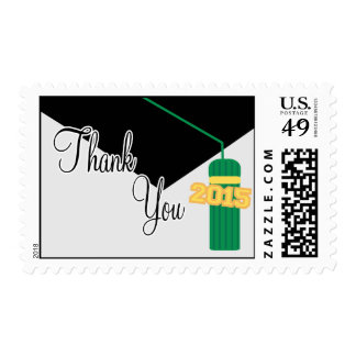 2015 Thank You (Green Graduation Cap And Tassel) Stamps