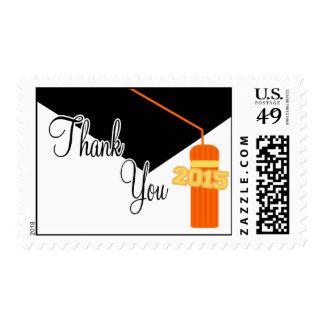 2015 Thank You (Orange Graduation Cap And Tassel) Postage Stamps