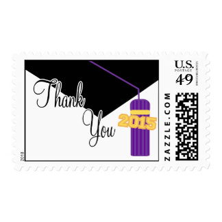 2015 Thank You (Purple Graduation Cap And Tassel) Postage