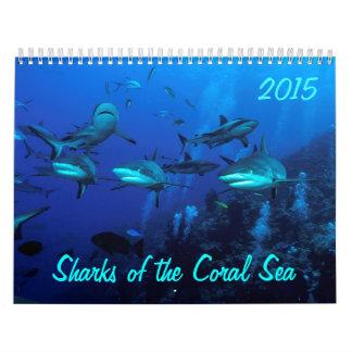2015 tiburones del calendario del mar de coral
