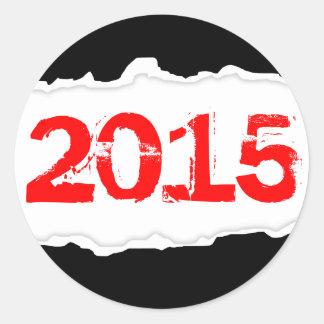 2015 (torn paper) classic round sticker