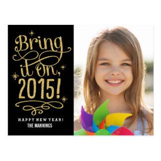 2015 tráigalo en la postal de la tarjeta de la