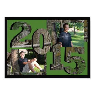 2015 Tree Camo Twin Photo Hunter Green 5x7 Paper Invitation Card